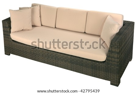 Urban rattan sofa isolated on a white background - stock photo