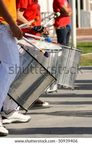 urban rhythm, percussion on street - stock photo