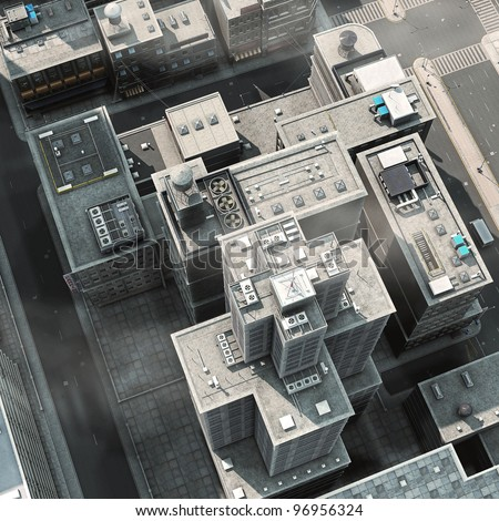 Urban Rooftops, aerial view of a 3d City Render - stock photo