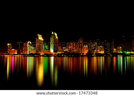 Urban San Diego City Skyline at Night reflecting off the Bay