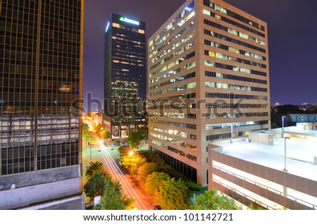 Urban scene along 5th Ave in downtown Birmingham, Alabama, USA - stock photo