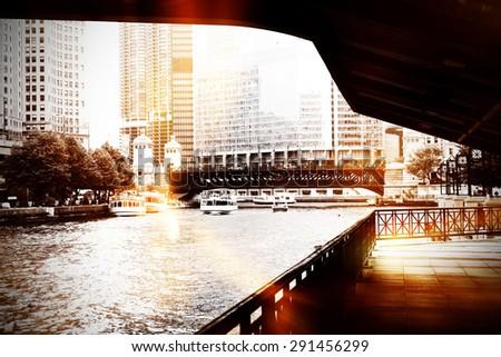Urban scene at Chicago River - stock photo