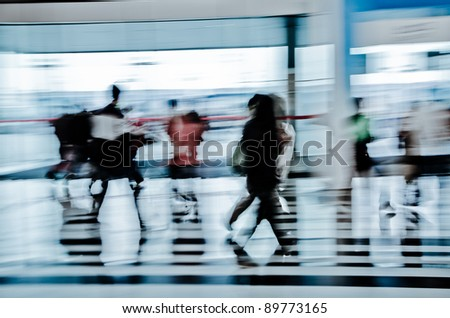 urban scene big city walking business person abstract background blur motion
