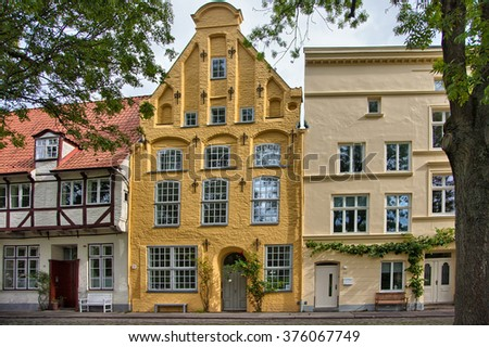 Urban scene in the historic old town of Lubeck, Germany