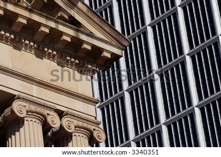 Urban Scene: Old Building And Modern Office Building In Sydney, Glass Facade, Australia - stock photo