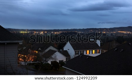 Urban scene with city lights in the background. - stock photo