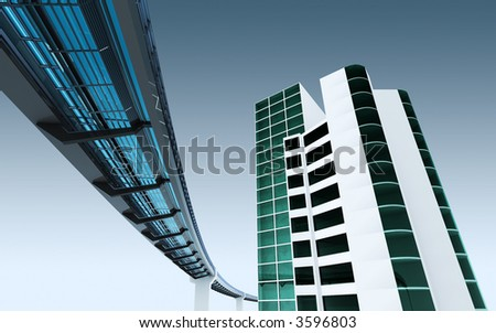 urban scene with monorail - stock photo