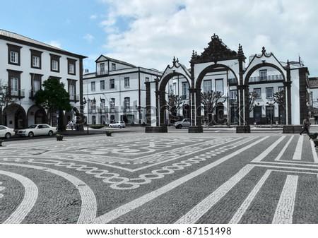 urban scenery at Ponta Delgada, capital city of the Azores at Sao Miguel Island - stock photo
