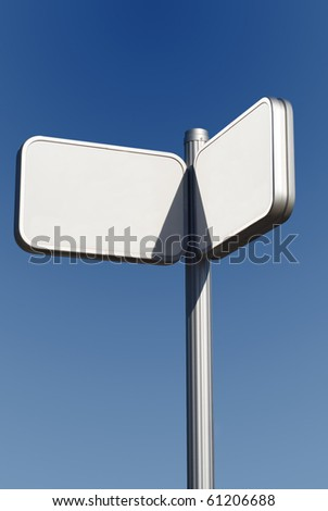 Urban signpost made of metal. Put your own text - stock photo
