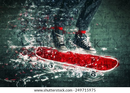 Urban Skateboarder jumping on doodle sketched skate board. - stock photo