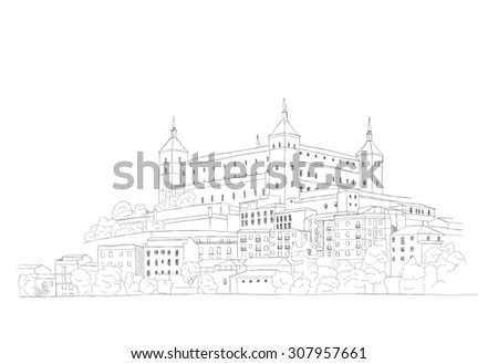 urban sketch of old town of Toledo, Spain  - stock photo