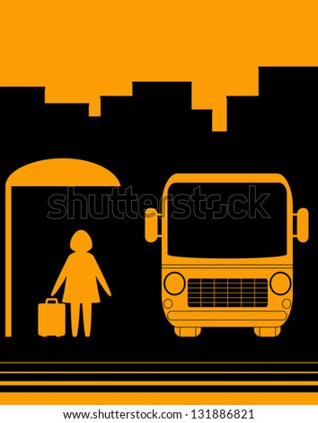 urban sketch sign with image woman with bag on bus stop
