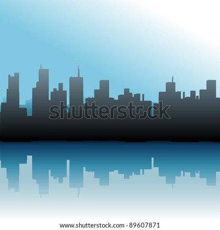 Urban skyline of port city skyscraper buildings on a river or sea - stock photo