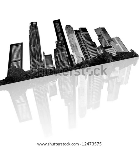 urban skyline - silhouettes of skyscrapers with reflection - stock photo