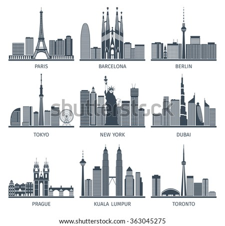 Urban Skylines Icons Set  - stock photo