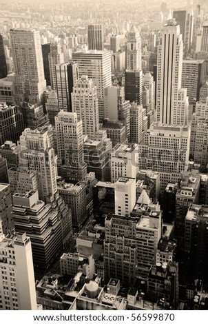 Urban skyscrapers, New York City skyline. Manhattan aerial view. - stock photo