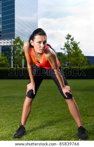 Urban sports - fitness in the city on a beautiful summer day - stock photo