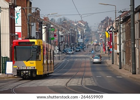 Urban street with smoggy view in Belgium - stock photo
