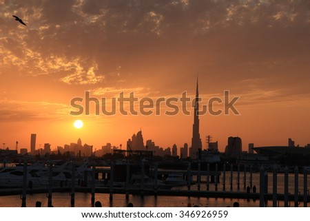 Urban sunset in Dubai, United Arab Emirates