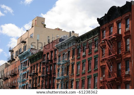 Urban tenements in Manhattan's Lower East side. - stock photo