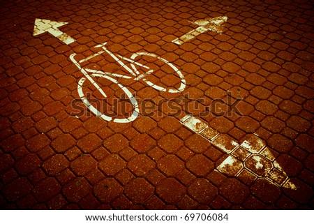 urban traffic concept - bike/cycling lane in a city - stock photo