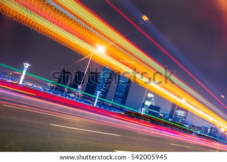 urban traffic road at night in city of China.