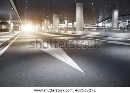 Urban tunnel and arrows   - stock photo