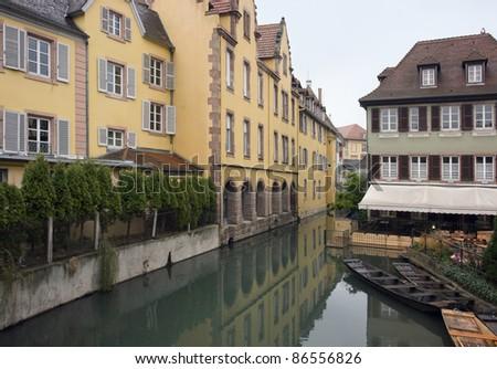 urban waterside scenery of Colmar (Alsace/France) - stock photo