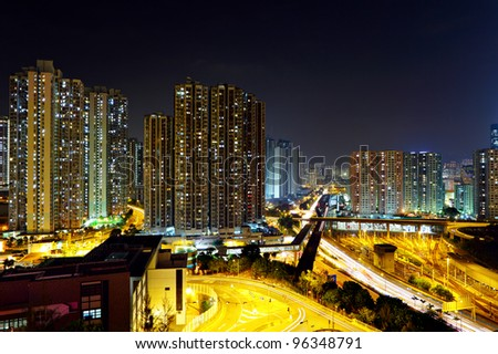 urban with traffic at night - stock photo