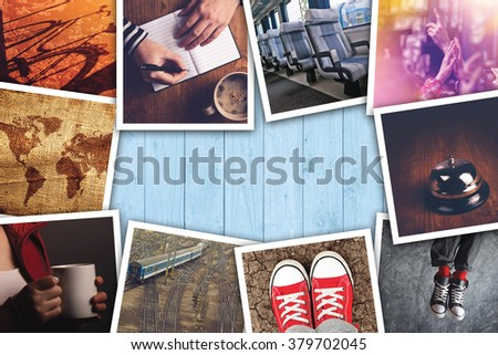 Urban youth lifestyle photo collage, various young adult way of life themed pictures on wooden desk. - stock photo