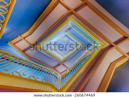 URBANA, ILLINOIS - MARCH 14 - Staircase in the Grainger Engineering Library on the campus of the University of Illinois on March 14, 2015 in Urbana, Illinois  - stock photo