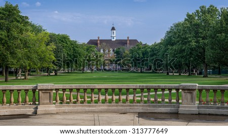 URBANA, ILLINOIS - SEPT 5: Illini Union from the Quad on the campus of the University of Illinois on September 5, 2015 in Urbana, Illinois - stock photo