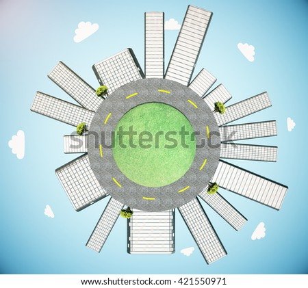 Urbanization concept with buildings and road on globe in sky. 3D Rendering - stock photo