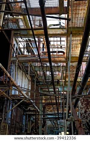 Urbex, view of abandoned factory - stock photo