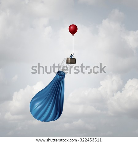 Urgency business plan and crisis management strategy metaphor as a businessman in a broken deflated hot air balloon being saved by a single small balloon as an innovative response solution idea. - stock photo