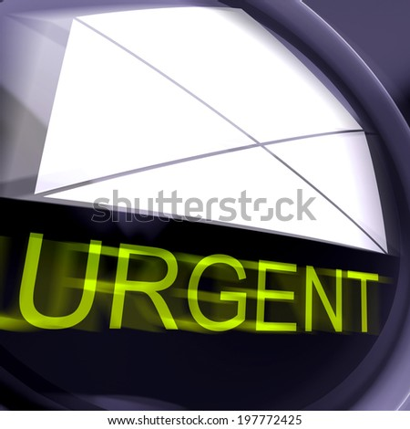 Urgent Postage Meaning High Priority Or Very Important Mail - stock photo
