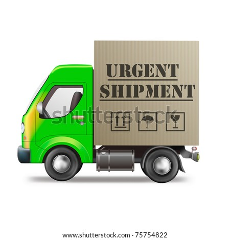 urgent shipment delivery truck quick speed sending of important cardboard box package