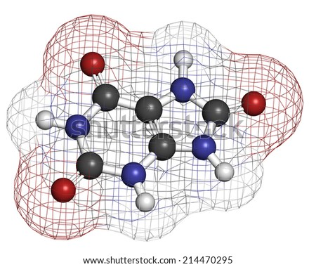 Uric acid molecule  High blood levels lead to gout disease  Atoms are    Uric Acid Molecule