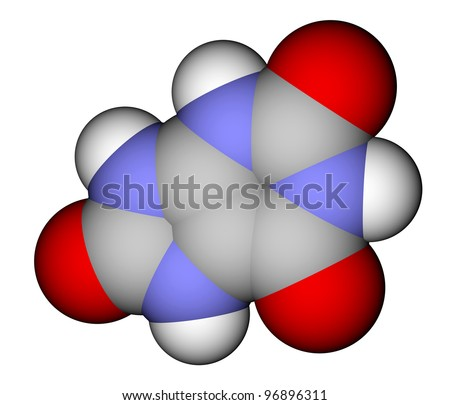 Uric acid space filling molecular model - stock photo