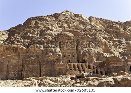 urn tomb, one of the famous royal tomb in petra, jordan - stock photo
