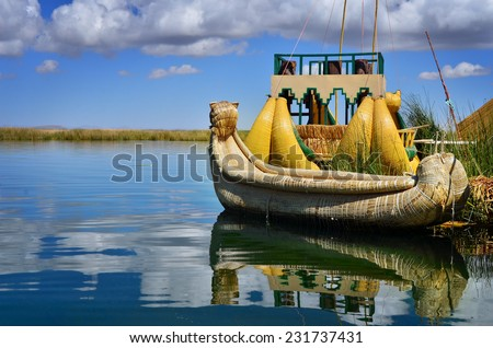 Uros floatin island on lake Titicaca in Peru, traditional reed boats - stock photo