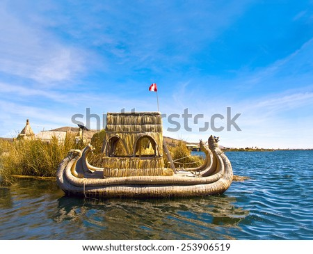 Uros - Floating Islands, Titicaca lake, Peru-Bolivia - stock photo