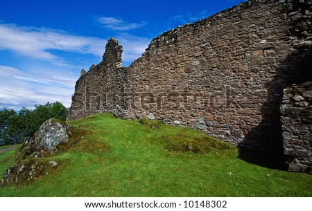 Urquhart Castle at Loch Ness Scotland - stock photo