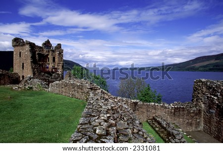 Urquhart Castle at the lake Loch Ness. - stock photo