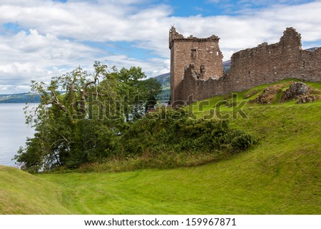 Urquhart Castle beside Loch Ness in Scotland, UK. - stock photo