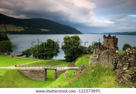 Urquhart Castle in Scotland. - stock photo