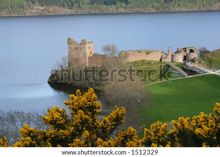 Urquhart castle Loch Ness Scotland - stock photo