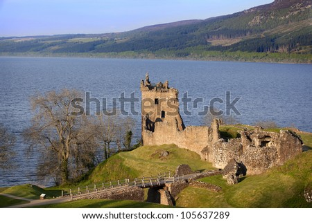 Urquhart Castle near Loch Ness, Scotland - stock photo
