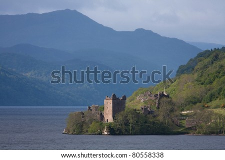 Urquhart Castle on the shores of Loch Ness in the Scottish Highlands UK - stock photo