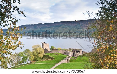 Urquhart Castle overlooking Loch Ness - stock photo